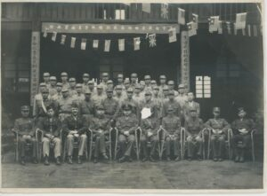 Arthur Chan, second from left in bottom row, poses with his military class for a photograph, circa 1945. Donated to Queens Memory Collection at the Archives at Queens Public Library.