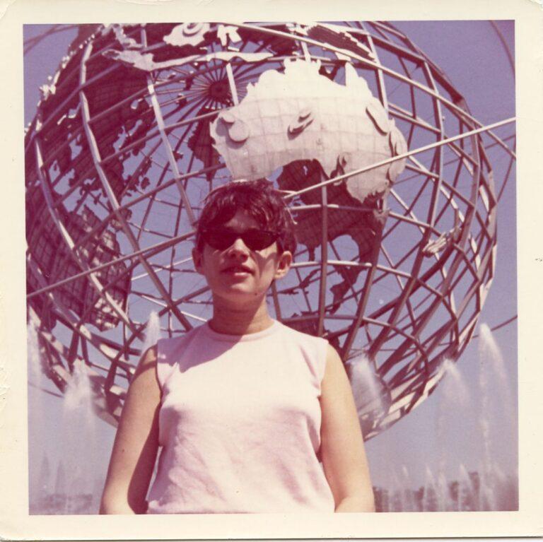 Vivien Pilson in front of the Unisphere